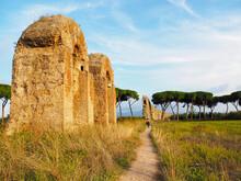 Ruins Of Ancient Roman Aqueduct In Rome