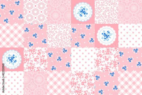 Fototapeta patchwork. pink seamless pattern. vector illustration. obraz