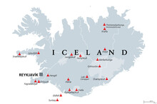Volcanoes Of Iceland That Erupted Since Human Settlement, Political Map. Eighteen Volcanoes Shown On Gray Map Of Iceland, With Glaciers And Regions. Isolated Illustration On White Background. Vector.