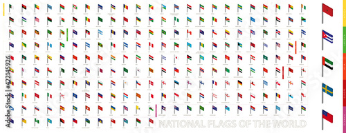 Tela Isometric flags sorted alphabetically and by continent