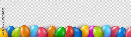 Fotografia Colorful Easter Egg bottom border over transparent banner background