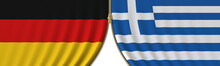 Flags Of Germany And Greece And Closing Or Opening Zipper Between Them. Political Negotiations Or Interaction Conceptual 3D Rendering