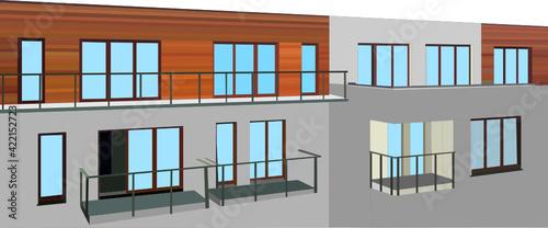 Budynek z drewniana elewacja i balkonami. - fototapety na wymiar
