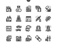 Car Parts Shop. Car Oil, Wheels, Mirrors, Hose Clamps, Spark Plug And Other. Auto Chemical Goods. Car Repair And Garage. Vector Solid Icons. Simple Pictogram