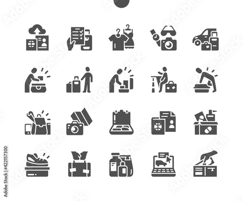 Lets hit the road. Buy online tickets. Pack a suitcase. Leisure, recreation, activities, tourism, vacations, holiday, adventure and travelling. Vector Solid Icons. Simple Pictogram