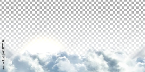 Fototapeta Vector realistic isolated cloud sky with Sun for template decoration and covering on the transparent background. Concept of storm and cloudscape. obraz