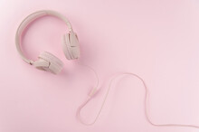 Pink Headphones On Pink Background