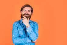 Casual Fashion Style. Happy Bearded Man In Shirt. Hairdresser Salon Concept. True Human Emotions. Mature Brutal Hipster With Lush Moustache. Facial Hair Beauty And Care. Final Touch