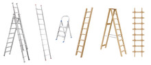 Realistic Ladders For Housekeeping. Set Of Stepladders, Stair Cases And Rope Ladder Wooden And Metal