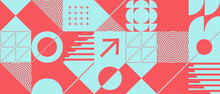 Abstract Background With Geometric Shapes And Halftone Textures. Minimalistic Geometric Pattern In Scandinavian Style.