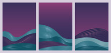 Abstract Simple Blue Waves In Minimal Gradient Nature Landscape Vector Illustration Set. Minimalist Wavy Night Scenery And Purple Sky In Vertical Modern Template Background For Social Media Stories