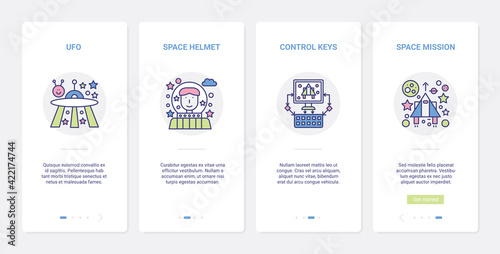 Video digital game, space line mission UI, UX onboarding mobile app page screen set