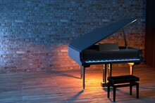 Grand Piano On The Stage Of Concert Hall Or Small Jazz Club