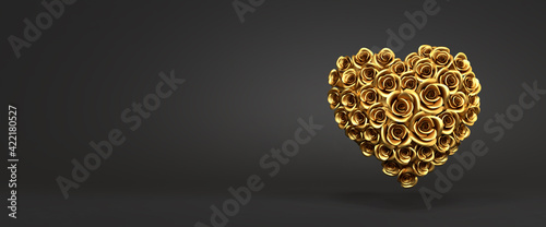Obraz 3d rendering: A heart of golden roses in front of a black background. Love and tenderness concept - Valentines Day, Wedding or Mother's Day. Web banner format - fototapety do salonu