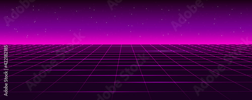 Fototapeta Retro futuristic background landscape 1980s style. Digital retro cyber surface. 80s Retro Sci-Fi background. Vector retro 80s illustration. obraz