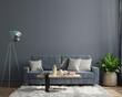 canvas print picture - luxury modern dark living room interior has a sofa on empty dark wall background.