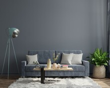 Luxury Modern Dark Living Room Interior Has A Sofa On Empty Dark Wall Background.
