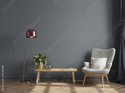 Fototapeta Luxury modern interior of living room has a armchair on empty dark wall background. obraz