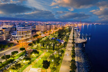 Evening Panorama Of Cyprus. Night City Of Limassol. Embankment In Cyprus. City Limassol From Bird Eye View. Evening Embankment Is Illuminated By Lanterns. View Of Evening City Limassol. Cyprus Travel