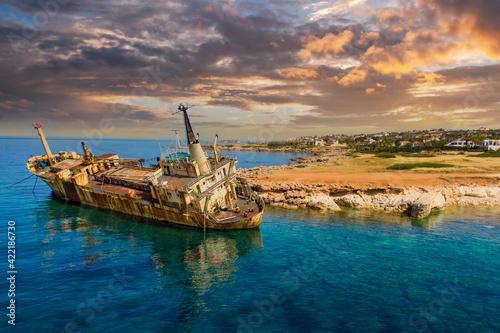Fototapeta Old ship off coast of Cyprus