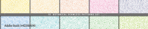 Fototapeta Seamless vector pattern set. Botanical motif, nature motif background. ナチュラル背景のベクターパターンセット obraz