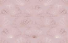 Rattan Seamless Pattern With Rose Gold Petal Weaving Tiles.