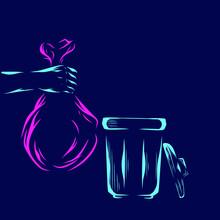 Trash Bin Vector Silhouette Line Pop Art Potrait Logo Colorful Design With Dark Background. Abstract Vector Illustration.