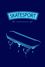 Skateboard Vector Silhouette Line Pop Art Potrait Logo Colorful Design With Dark Background. Abstract Vector Illustration.