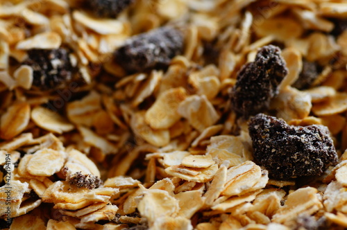 Fototapeta Oatmeal with raisins, cinnamon and milk. Food for athletes, vegetarians and dieters. obraz