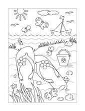 Coloring Page With Summer Vacation Scene - Flip-flops, Yacht, Toy Bucket At The Beach