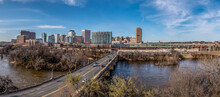 Aerial Panorama Of Richmond Virginia Views Of The Mayo And Manchester Bridge Over The James River, Floodwall, Industrial Railroad Tracks, Downtown Business District, Shockoe Slip, Capitol District