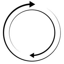Rotating Arrows. Concentric, Radial, And Circular Arrow Element. Cycle-cyclical Cursor, Pointer Icon