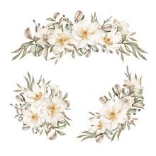 Magnolia White Watercolor Flower Arrangement Collection
