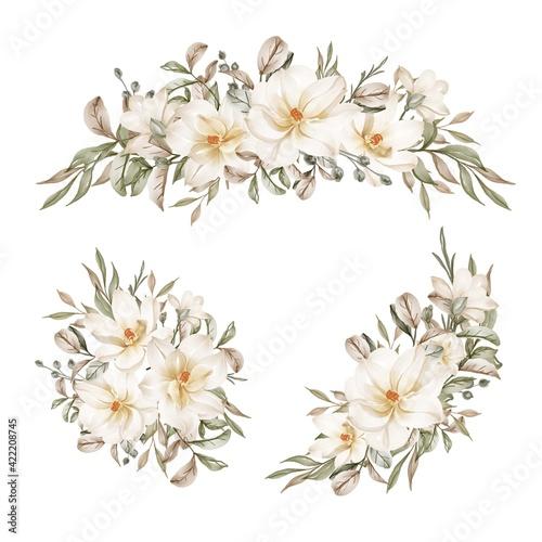 Fototapeta magnolia white watercolor flower arrangement collection