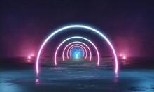 Neon Lights Stage Background. 3d Illustration