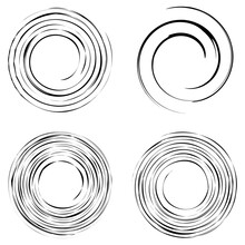 Cyclical Circle, Helix, Volute Element. Concentric Shape With Rotation, Centrifuge, Gyration Effect. Twist, Swirl Vector Illustration