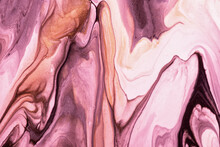 Abstract Fluid Art Background Purple And Pink Colors. Liquid Marble. Acrylic Painting With Lilac Gradient And Splash.
