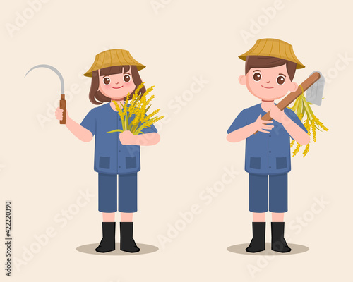 Fotografia, Obraz People farmer holding Sickle and shovel