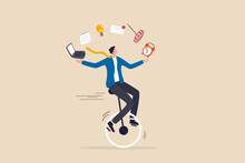 Productive Master, Productivity And Project Management Skill, Multitasking Work And Time Management Concept, Skillful Businessman Riding Unicycle Juggling Elements, Laptop, Calendar, Ideas And Emails.