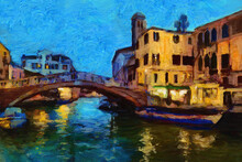 Modern Impressionism, Original Oil Painting On Canvas. Evening In Beautiful Venice. Light Reflections In Canal