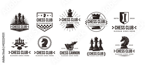 Canvastavla Set of Vintage classic badge emblem chess club, chess tournament logo vector ico