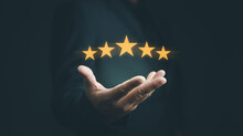 Customer Evaluation Feedback.men In Suit Giving Positive Review For Client's Satisfaction Surveys.giving A Five Star Rating. Service Rating, Satisfaction Concept