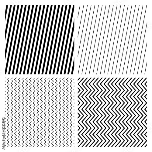 Criss-cross, zig-zag, serrated, and edgy wavy Lines pattern, background vector Illustration Wall mural