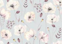 Floral Seamless Pattern With Delicate Poppies And Abstract Plants On Grey-turquoise Background. Watercolor Illustration In Vintage Style, Tender Flowers Poppy For Wallpapers, Textile Or Garden Print.