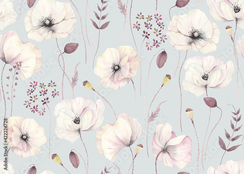 Obraz na plátně Floral seamless pattern with delicate poppies and abstract plants on grey-turquoise background