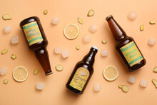 Bottles Of Fresh Ginger Beer On Color Background