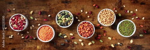 Fototapeta Legumes panorama. Many different pulses, shot from the top obraz