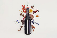 Possible Flavor Components Of Red Wine. Creative Composition