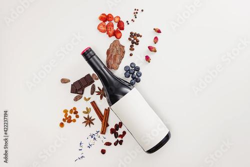 Fototapeta Possible flavor components of red wine. Creative composition obraz