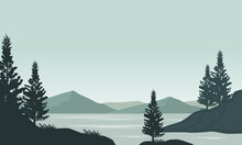 Amazing View Of The Mountains From The Riverbank In The Morning. Vector Illustration